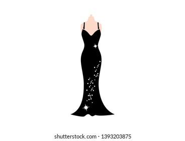 Elegant evening black glitter dress