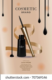 Elegant eyeliner product template. 3D illustration cosmetic or eyeliner package design isolated on luxury background.
