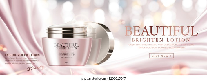 Elegant face cream banner ads on pink satin and glittering background, 3d illustration
