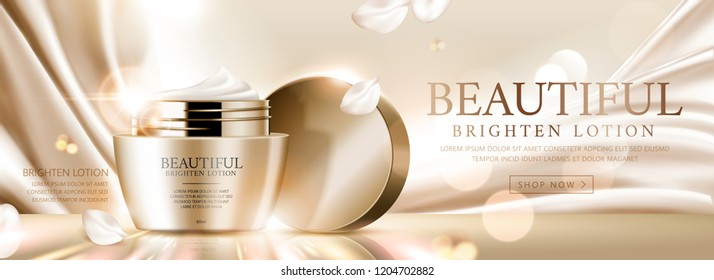 Elegant face cream banner ads on golden satin and glittering background, 3d illustration