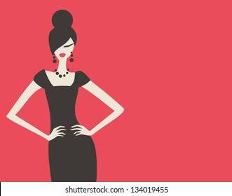 Elegant fashion model in black dress against red background.