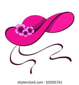 Elegant female hat with flowers in retro style on white, vector illustration. Raster version available in my portfolio