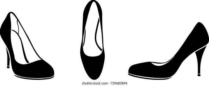 Elegant female shoes. Three flat icons. Vector