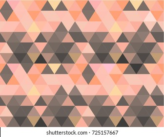 Elegant and feminine background. Seamless repeating vector pattern in geometric triangle shapes. Peach, pink, coral, brown, rose and orange color shades.