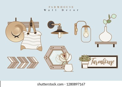 Elegant feminine icons depicting farmhouse country style living interior decorating