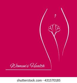 Elegant feminine woman silhouette in a linear sketch style (intimate hygiene, women etc. Woman health and spa illustration logo
