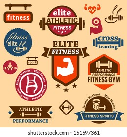 Elegant Fitness and Sport Vector Labels and logos.