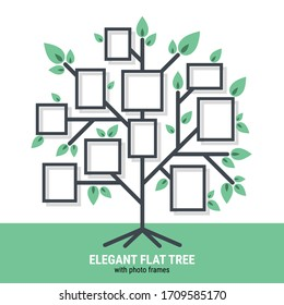 Elegant flat tree with photo frames created for Web, Document, Greeting Card, Poster, Label and Other Decoration Surface. Beautiful tree which can be used in many purposes. Eps10 vector.