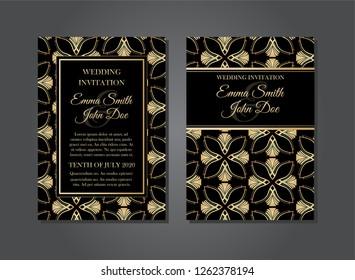 Elegant Floral Art Deco Gatsby Wedding Invitation Design