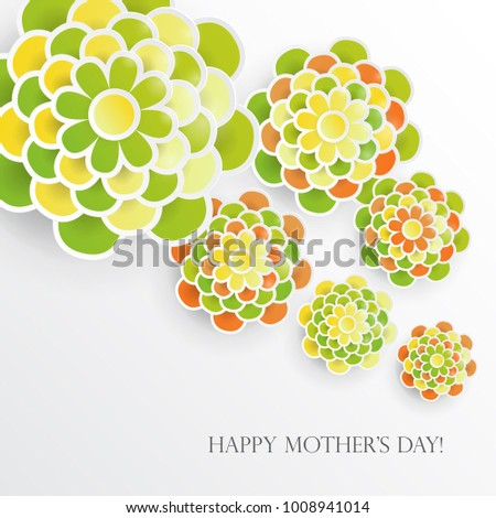Elegant Floral Background 3 D Paper Flowers Stock Vector Royalty