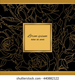Elegant floral background for your card, flyer, invitation. Template with a floral pattern. Vector background with roses.