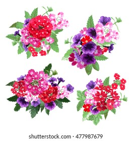 Elegant floral bouquets, design elements. Floral compositions can be used for wedding, baby shower, mothers day, valentines day cards, invitations