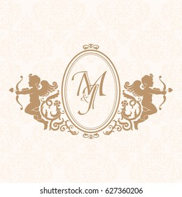 Elegant floral contour monogram design template with cupids for one or two letters. Wedding monogram. Business sign, monogram identity for restaurant, boutique, hotel, heraldic, jewelry.