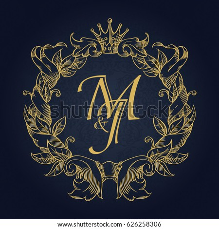Elegant floral contour monogram design template for one or two letters. Wedding monogram. Business sign, monogram identity for restaurant, boutique, hotel, heraldic, jewelry.