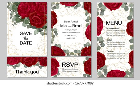Elegant floral design for your wedding invitation. Red roses, eucalyptus, background with gold, menu, rsvp card, thank you. Template for a greeting card.