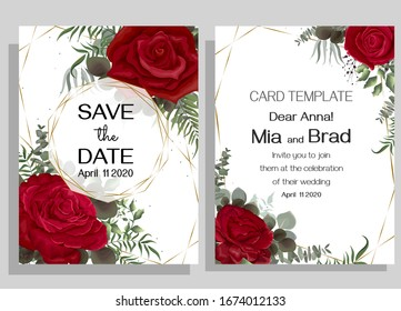 Elegant floral design for your wedding invitation. Red roses, eucalyptus, gold polygonal frame. Template for a greeting card.
