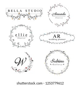 Elegant floral frame logos template with hand drawn swirl, border frame, and wreaths Suitable for logo wedding, florist, or personal.