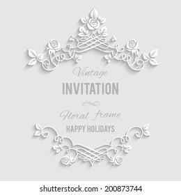 Elegant floral frame with place for text. Festive backdrop for greetings, invitations or any text