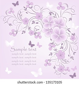 Elegant  floral illustration in vintage style. Wedding card