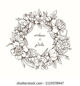 Elegant floral monogram design tamplate. Floral frame with peonies and jasmine.