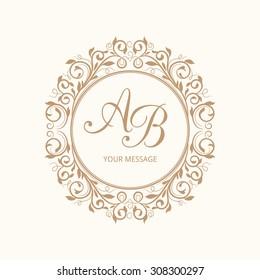 Elegant floral monogram design template for one or two letters. Wedding monogram. Calligraphic elegant ornament. Vector illustration.