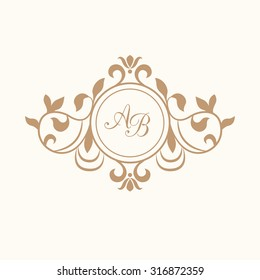 Elegant floral monogram design template for one or two letters . Wedding monogram. Calligraphic elegant ornament. Vector illustration. Business sign, monogram identity for restaurant, boutique, cafe