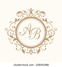 Elegant floral monogram design template for one or two letters . Wedding monogram. Calligraphic elegant ornament. Business sign, monogram identity for restaurant, boutique, hotel, heraldic, jewelry.