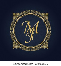 Elegant floral monogram design template for one or two letters. Wedding monogram. Business sign, monogram identity for restaurant, boutique, hotel, heraldic, jewelry.