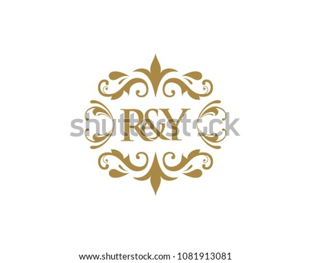 elegant floral monogram design template one stock vector royalty