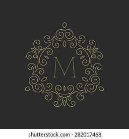 Elegant floral monogram logo design template with letter M. Monogram identity, business sign, logo design. Lineart vector illustration.