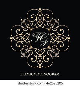 Elegant floral monogram logo design template. Retro style lineart vector illustration for restaurant, boutique, hotel, heraldic, jewelry, fashion, business signs or banner, card, label.