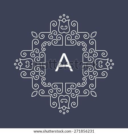 elegant floral monogram template border business stock vector