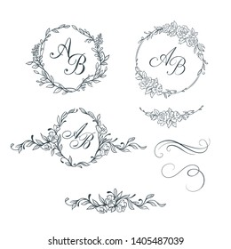 Elegant floral monograms and decorative elements. Design templates for invitations, labels. Wedding monograms. Calligraphic elegant ornament.