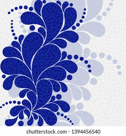 Elegant floral navy blue frame with paisley and polka dots in Russian Gzhel style. Vector image. Eps 10