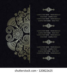 Elegant floral pattern on a dark seamless background. Stylish design. Can be used as a greeting card or wedding invitation