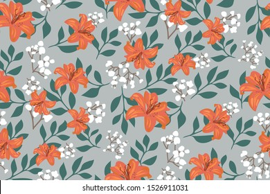Elegant floral pattern with orange tiger Lily flowers and leaves on a light grey background. Vintage Botanical print. Beautiful vector Wallpaper, template for fabrics, posters, postcards, book covers.