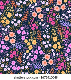 Elegant floral pattern in small colorful hand draw flower. Liberty style. Floral seamless background for fashion prints. Vintage print. Seamless vector texture. Spring bouquet.