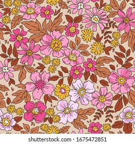 Elegant floral pattern in small hand draw flowers. Liberty style. Floral seamless background for fashion prints. Vintage print. Seamless vector texture. Spring bouquet.