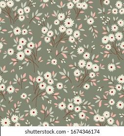 Elegant floral pattern in small white flower. Liberty style. Floral seamless background for fashion prints. Ditsy print. Seamless vector texture. Spring bouquet.