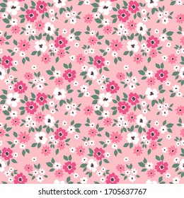Elegant floral pattern in small white and pink flowers. Liberty style. Floral seamless background for fashion prints. Ditsy print. Seamless vector texture. Spring bouquet.