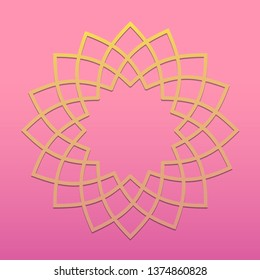 Elegant floral round shape unit or pattern. Petal shaped vector design pattern with beautiful pink and gold colors.