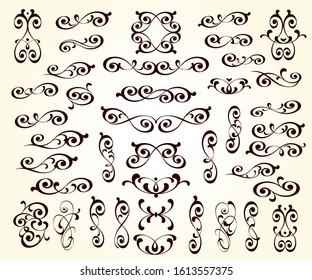 Elegant floral scrollwork design elements. Vector illustration.