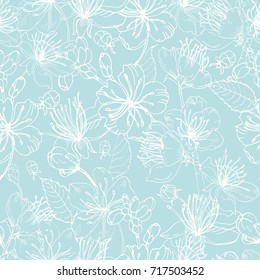 Elegant floral seamless pattern with tender blooming flowers of Japanese sakura tree hand drawn with white lines on blue background. Vector illustration for wallpaper, textile print, wrapping paper.
