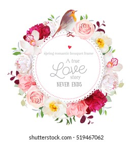 Elegant floral vector round card with white and burgundy red peony, rose, orchid, carnation flowers, mixed plants and cute small robin bird. All elements are isolated and editable.