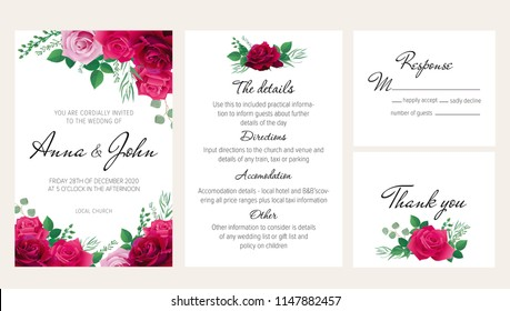 Elegant floral wedding invitation set with purple, dark red and pink roses. This wedding invitation template set includes four templates: invitation card, rsvp card, details and thank you card.