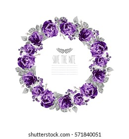 Elegant floral wreath, design element. Can be used for wedding, baby shower, mothers day, valentines day, birthday cards, invitations. Vintage decorative flowers.