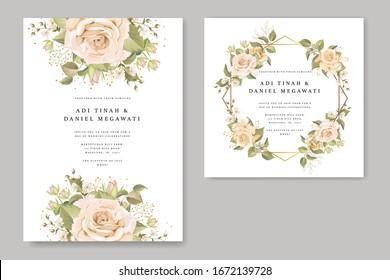 Elegant floral wreath wedding card template