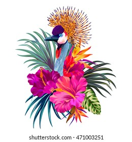 Elegant floral and zoo vector composition. A print for a tshirt. Tropical flowers and exotic bird. Vintage style illustration.