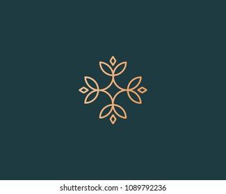 Elegant flower logo icon. Universal creative premium logotype. Abstract line vector sign.