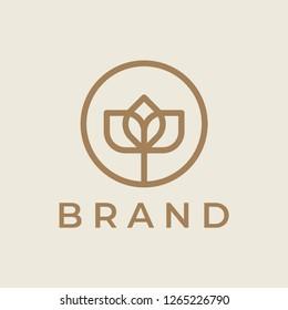 Elegant flower logo icon. Universal flower design.